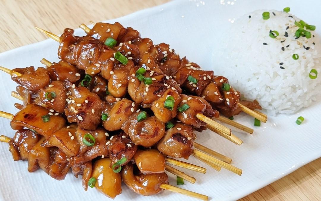 Minis brochettes de poulet teriyaki