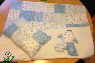 Patchwork Babyset blau