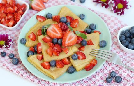 Vanille Crêpes, Crepes, Erdbeeren, Heidelbeeren