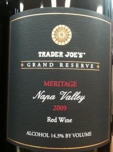 label for trader joe's grand reserve meritage