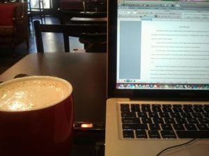 writing at coffee shop