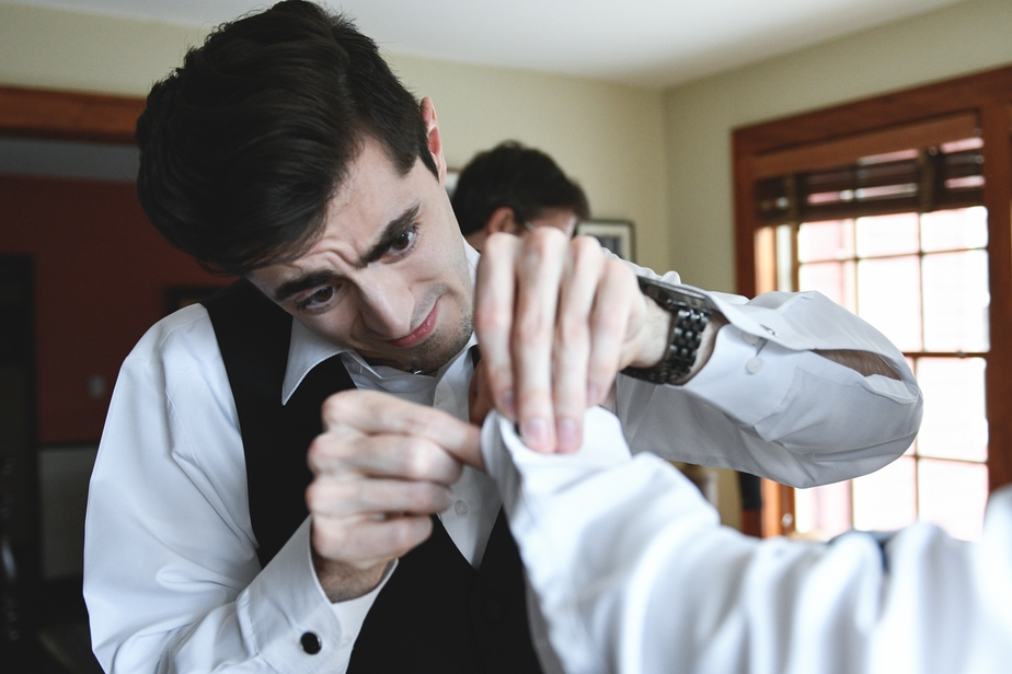 Groom Getting Ready before St. Philips Church Wedding in Garrison, NY