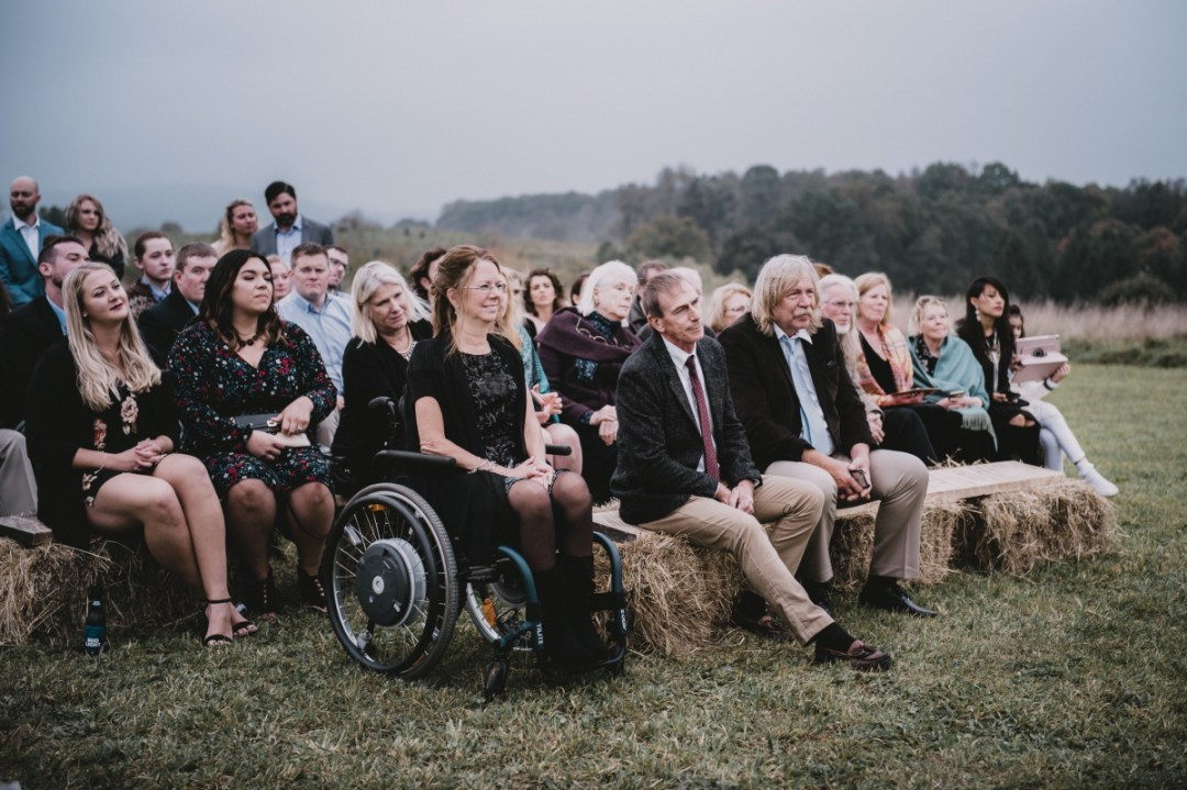 Ronnybrook Farm wedding ohoto of guests atop Globe Hill