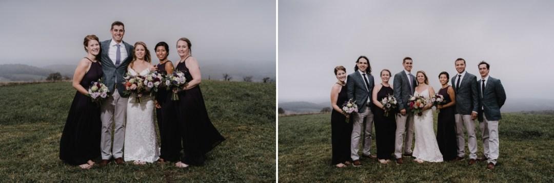 Globe Hill wedding party photos on a foggy day