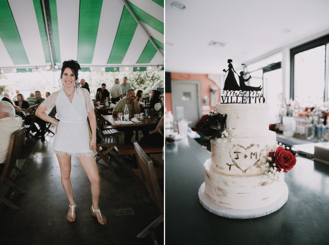 Portrait of a bride and her cake at a Fishkill wedding