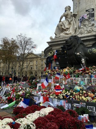 The memorial for the victims of the Daesh attacks at Republique