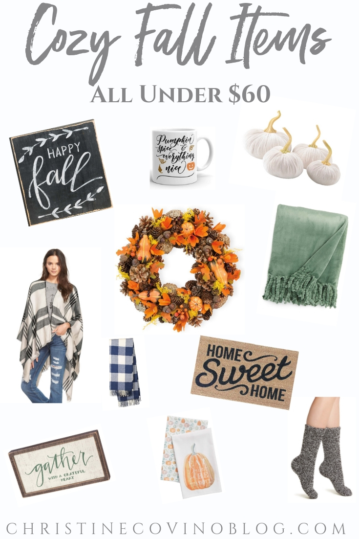 It's Fall and it is the perfect time of year to snuggle up with a blanket and read a good book! We are sharing our favorite cozy fall items for under $60!