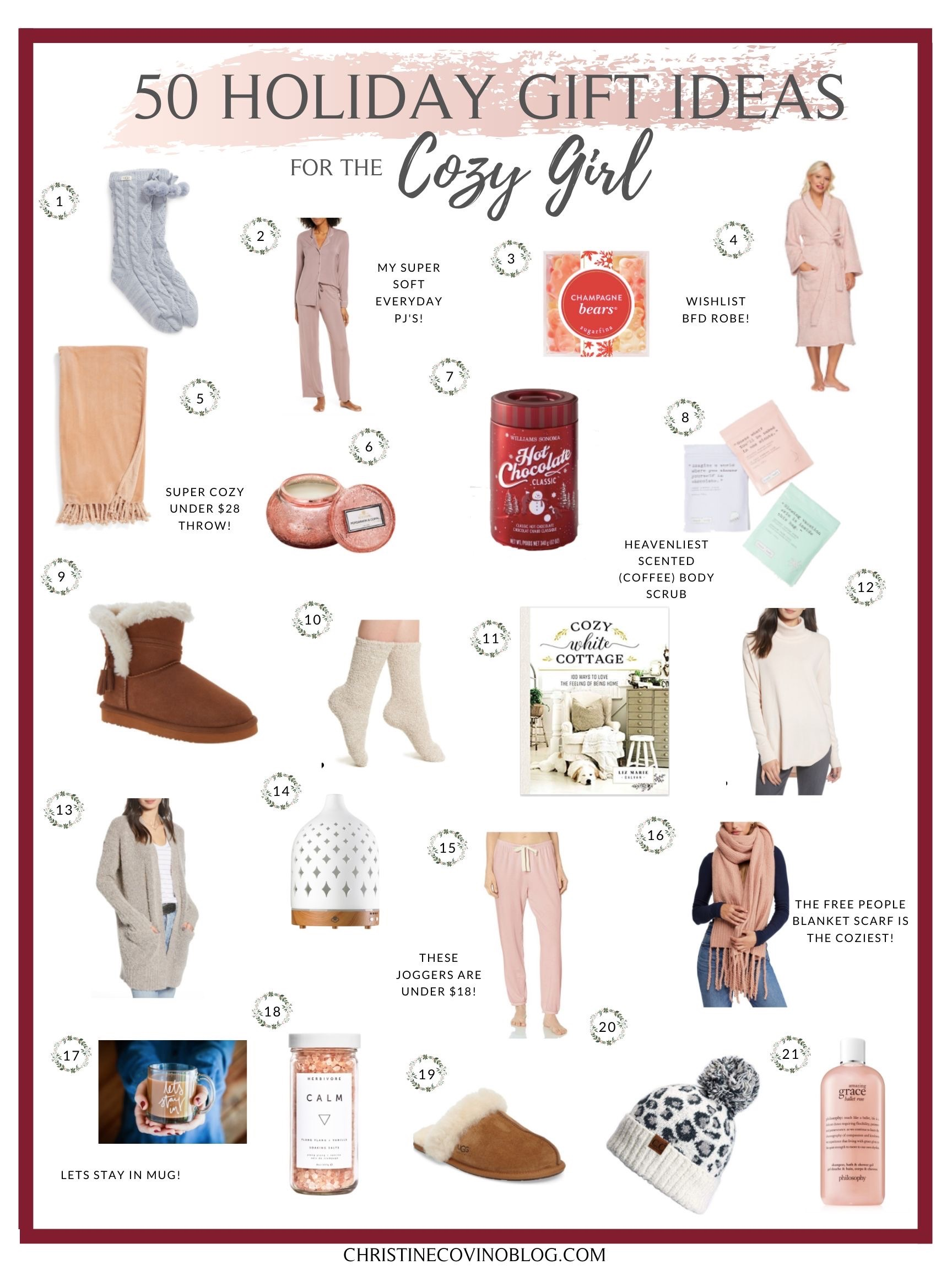 Gift Ideas for the Cozy Girl- Soft and cozy things that make you warm and fuzzy