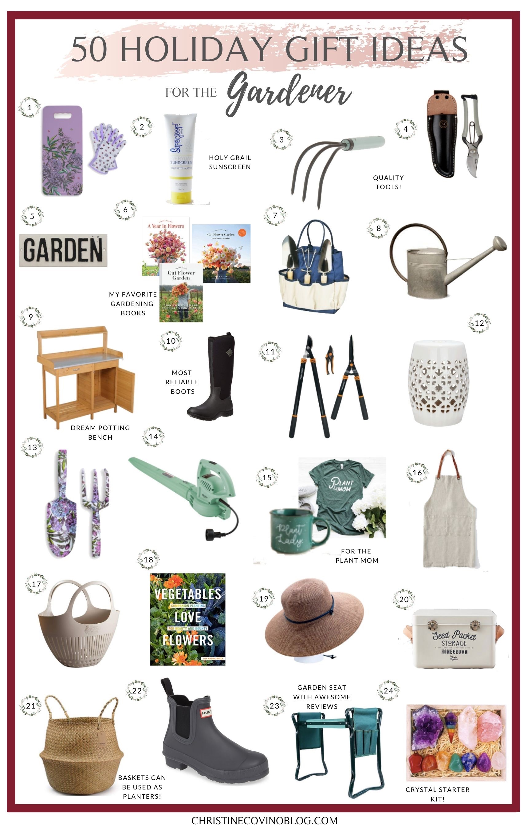 Sharing 50 of my favorite holiday gift ideas for the gardener. These holiday ideas are perfect for everyone who loves to be outside gardening this year.