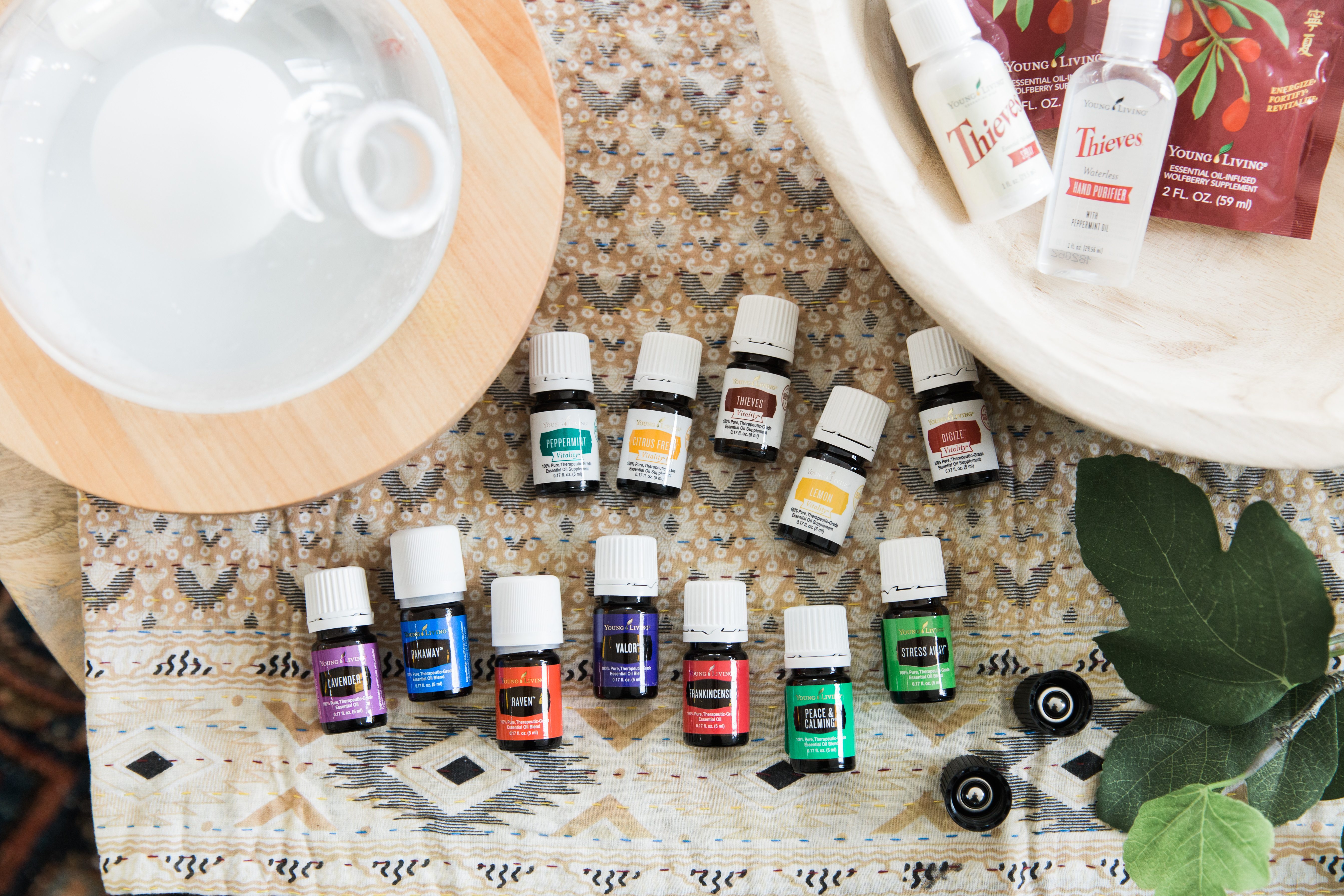 flatlay of young living starter kit - the kit