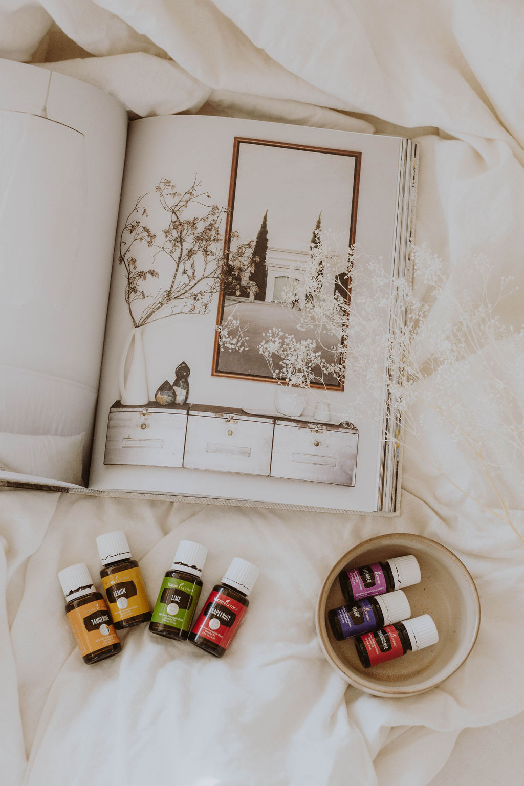 flat lay of young living oil - oils for under 20