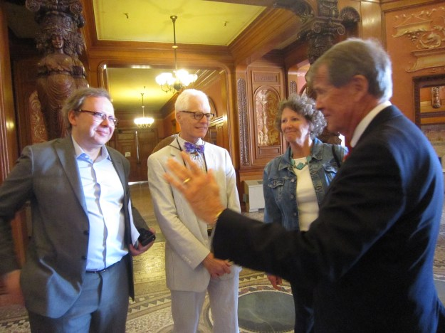 Flagler College President, Dr. William T. Abare, Jr., chats with Semyon Mikhailovsky, Thomas Gordon Smith and Lane Jeter Manis
