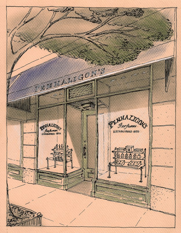 Sketch by Christine G. H. Franck showing preliminary concept for  shop renovation.