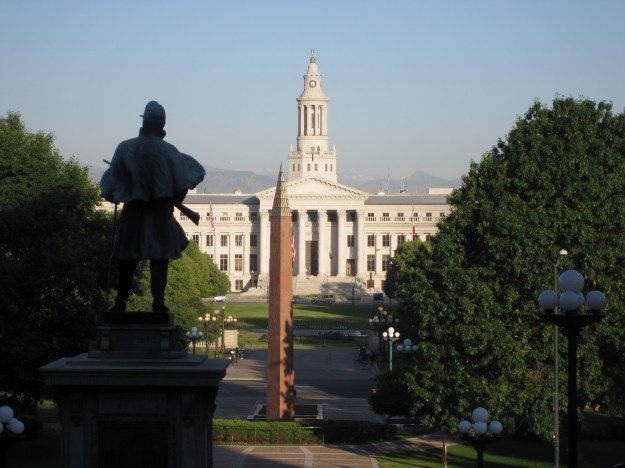 Figure 1 – My early morning view of Civic Center Park from the steps of the Colorado State Capitol.