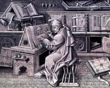 The copyist Jean Mielot working in his scriptorium by Jean Le Tavernier, 15th C.