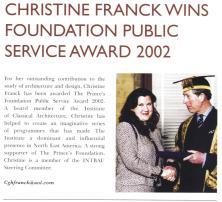 """""""Christine Franck wins Foundation public service award 2002,"""" Prince's Foundation Newsletter"""