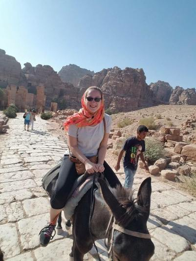 Donkey ride through the mountains of Petra