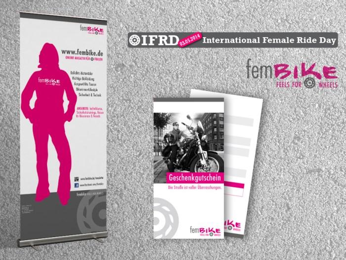 Gestaltung Rollup, Banner, Gutscheinflyer und Logo für fembike | KERNgeschäft