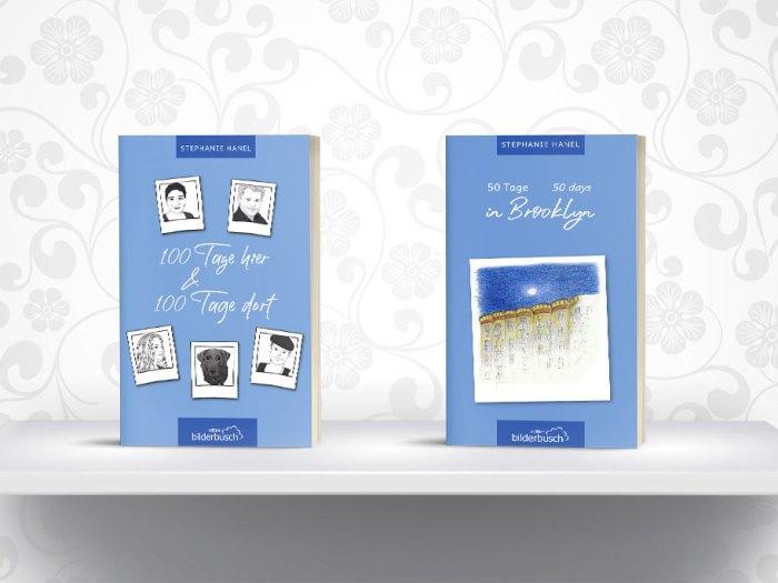Cover der beiden Tagebuchromane von Stephanie Hanel || Gestaltung Cover und Layout Buchblock KERNgeschäft Christine Kern