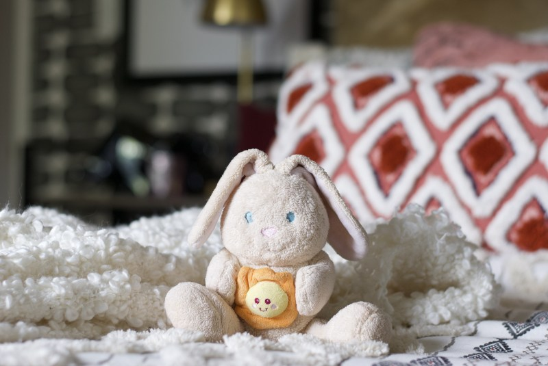 one room challenge, better homes and gardens, Christine Kohut Interiors, design ninja, project coast to coast, #ckprojectcoasttocoast, bedding, bunny, you are my sunshine, blanket, cozy bedroom