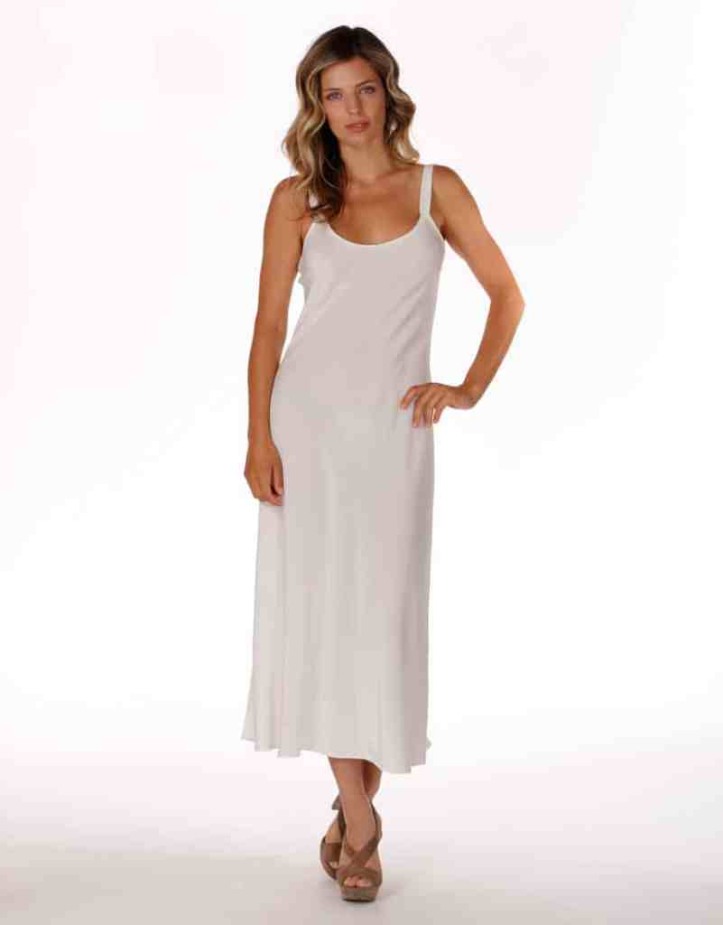 silk gown, silk lingerie, christine lingerie, made in canada, audrey silk white gown