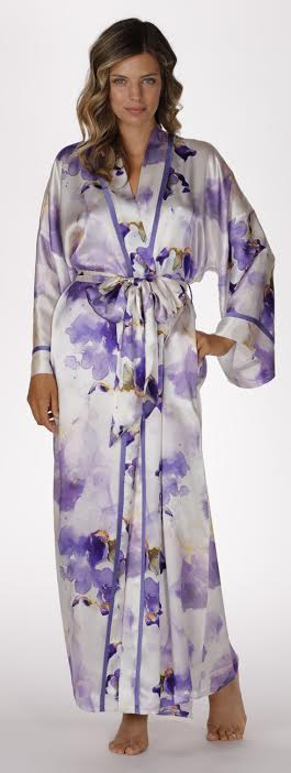 Iris long silk robe, christine lingerie, floral robe, long robe, short robe, made in canada, long silk robe