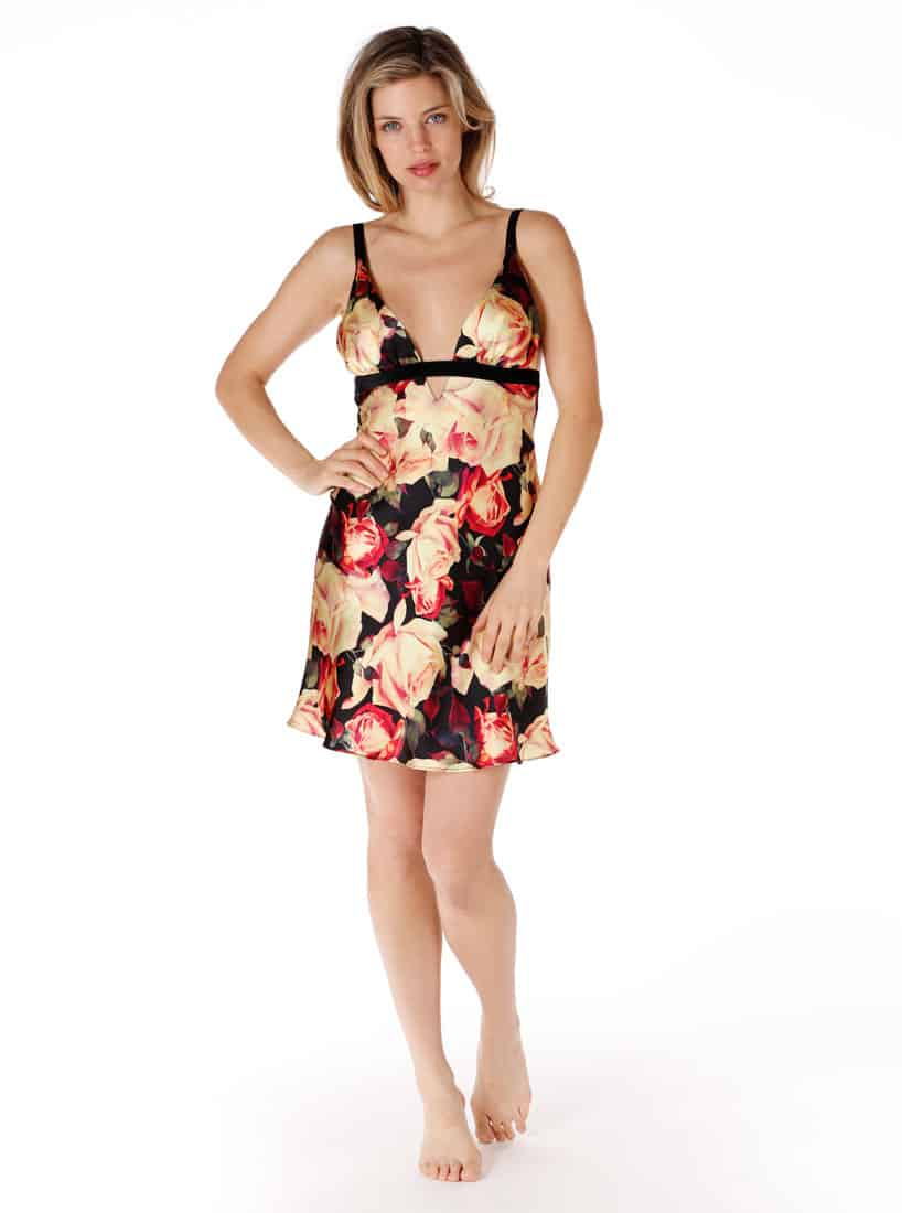 A silk chemise in our Christine Lingerie floral English Rose print is worn by a women