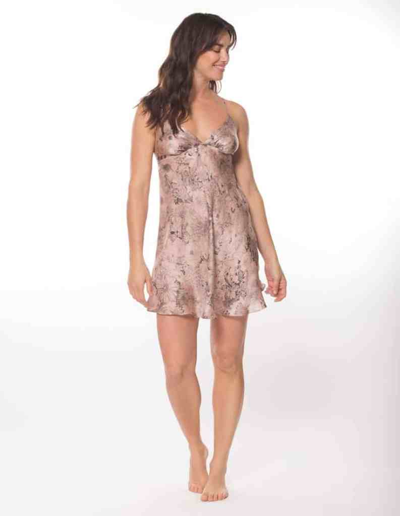 silk chemise with our Christine Lingerie floral arabella print is worn by a women