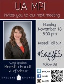 Flyer I created for one of our meetings featuring a guest speaker