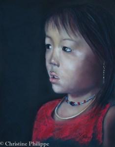 Petite fille vietnamienne - Pastel sec sur pastel board. (50*40) d'après une photo de Rehahn avec son autorisation
