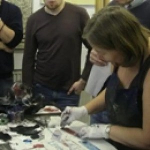 printmaking skills classes Classes include colour printing techniques, multi-plate, drypoint, solar plate printing, some etching, basic bookbinding. Have travelling press, will travel. image: teaching printmaking at Newcastle-Under-Lyme College, England