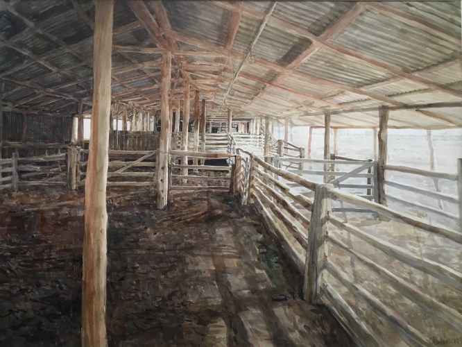 "ChristinePorter 'Catching pens, shearing shed, Blackall Qld"" 2017 watercolour 54x74cm"