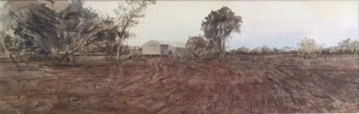 Christine Porter 'Shed at dusk' 2017 watercolour49.5x16