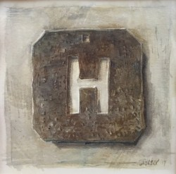 Christine Porter 'Woolstencil H' 2017 watercolour approx 11x11cm