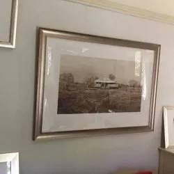 Christine Porter Once Were Yards 2015 watercolour on paper, framed. Hanging in my own loungeroom which acts as a gallery of my work for when visitors come to drink tea and look at paintings. :)