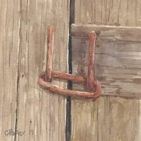 Watercolour by Christine Porter of a wooden door held together by rusted latch and link.
