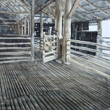 Watercolour by Christine Porter of the interior of a timber shearing shed. Showing a timber gate, floorboards and pens.