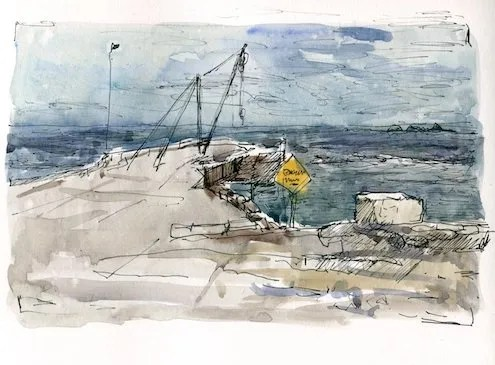 a photo fo sketchbook page of a drawing of the Kingston wharf. Showing the wharf, a yellow sign, the horizon and a stormy sky.
