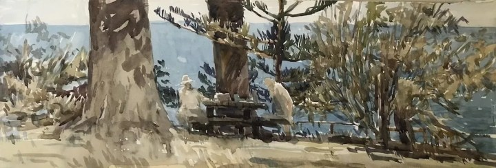 photo of a painting by Christine porter of the base of some large trees at a lookout with the very blue ocean behind. At the table under the trees are two people painting. It's abright sparkly day.