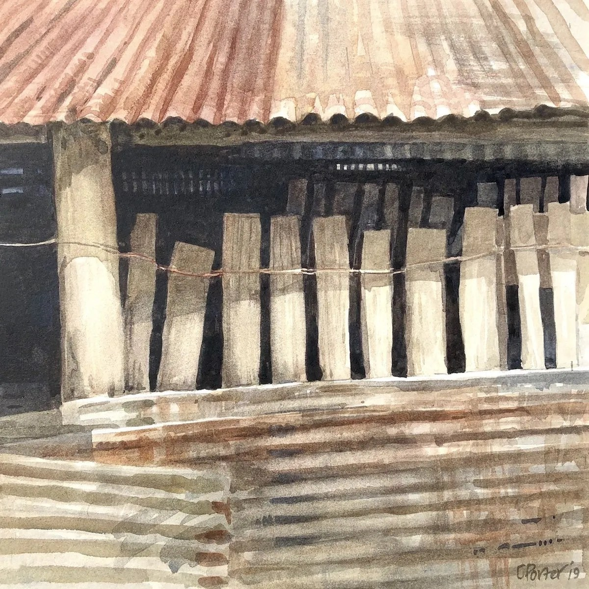 Watercolour painting by Christine Porter showing the roof and walls of a weathershed in an old shearing shed. the roof is red corrrugated iron, the walls are tied together short slabs and also there's mroe tin on the front of that.