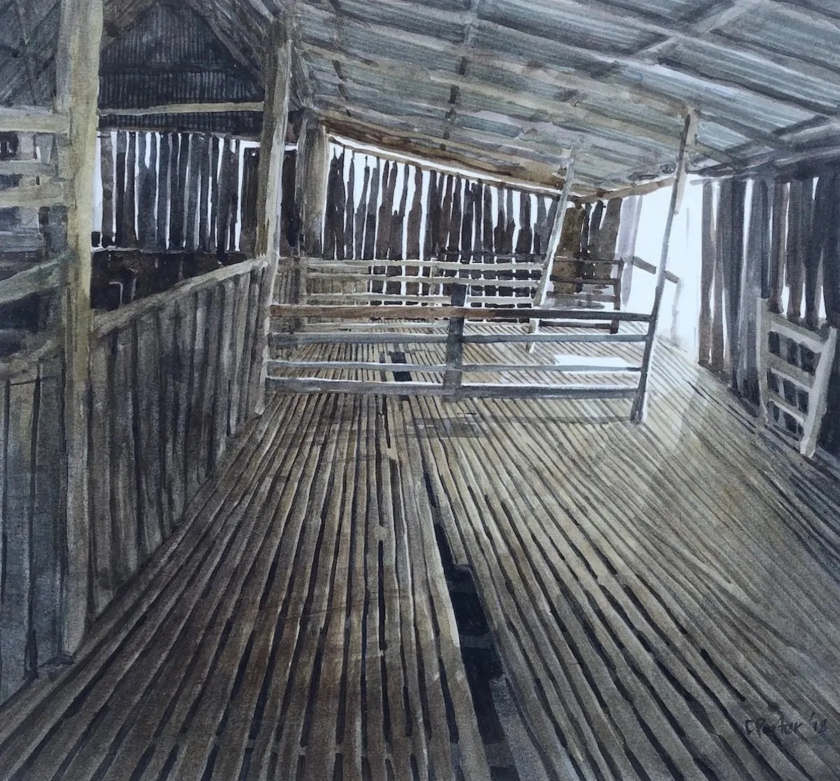 Watercolour painting by Christine Porter showing the interior of a slab shed. slatted woolshed flooring, pens made of pine poles and slab walls