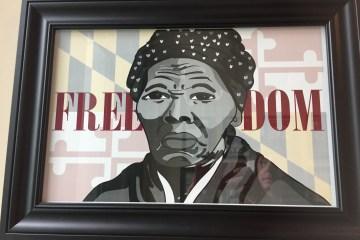 Student artwork of Tubman on display