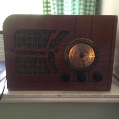 Hook your device to the retro radio and listen to vintage playlists.