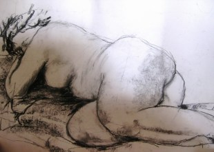Reclining nude - charcoal on paper