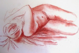 Life drawing - nude. Pastel on paper