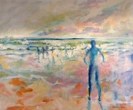 Morning Swim oil on board 55 64cm $550.00