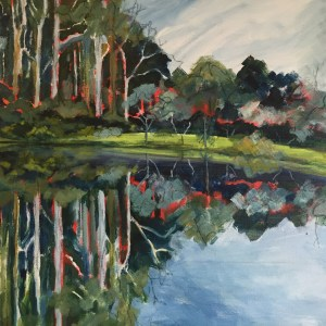 The Dam Mirror at Two Figs Retreat. Acrylic on canvas.