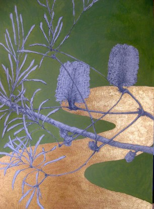 Rinpa, Japanese inspired, drawing, painting, gouache, acrylic, Banksias