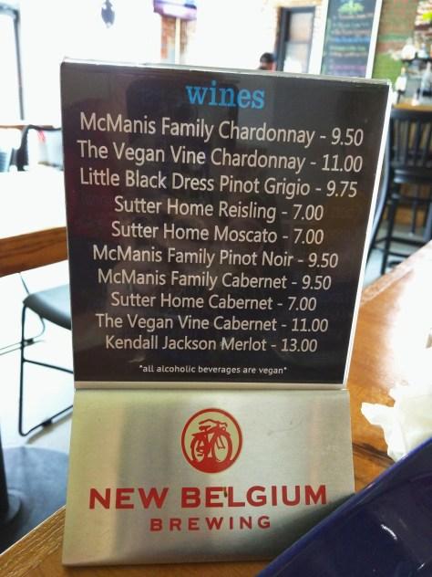 Root of Lancaster Wine List