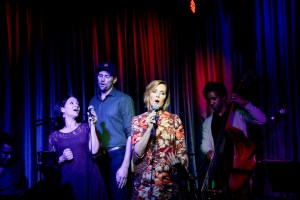 Singer songwriter Christine Rosander and singers performing at Hotel Cafe.
